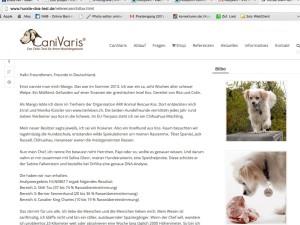 So sieht mein Beitrag bei Cani Varis aus. Hammer. Danke Sabine Falkenstein.